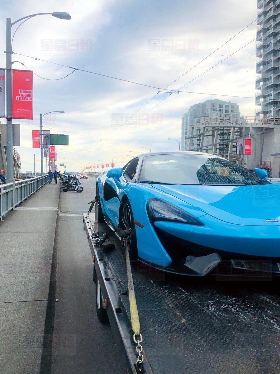 一部McLaren超跑周一被发现在固兰湖街桥上超速一倍,事后被拖走及扣押。Twitter