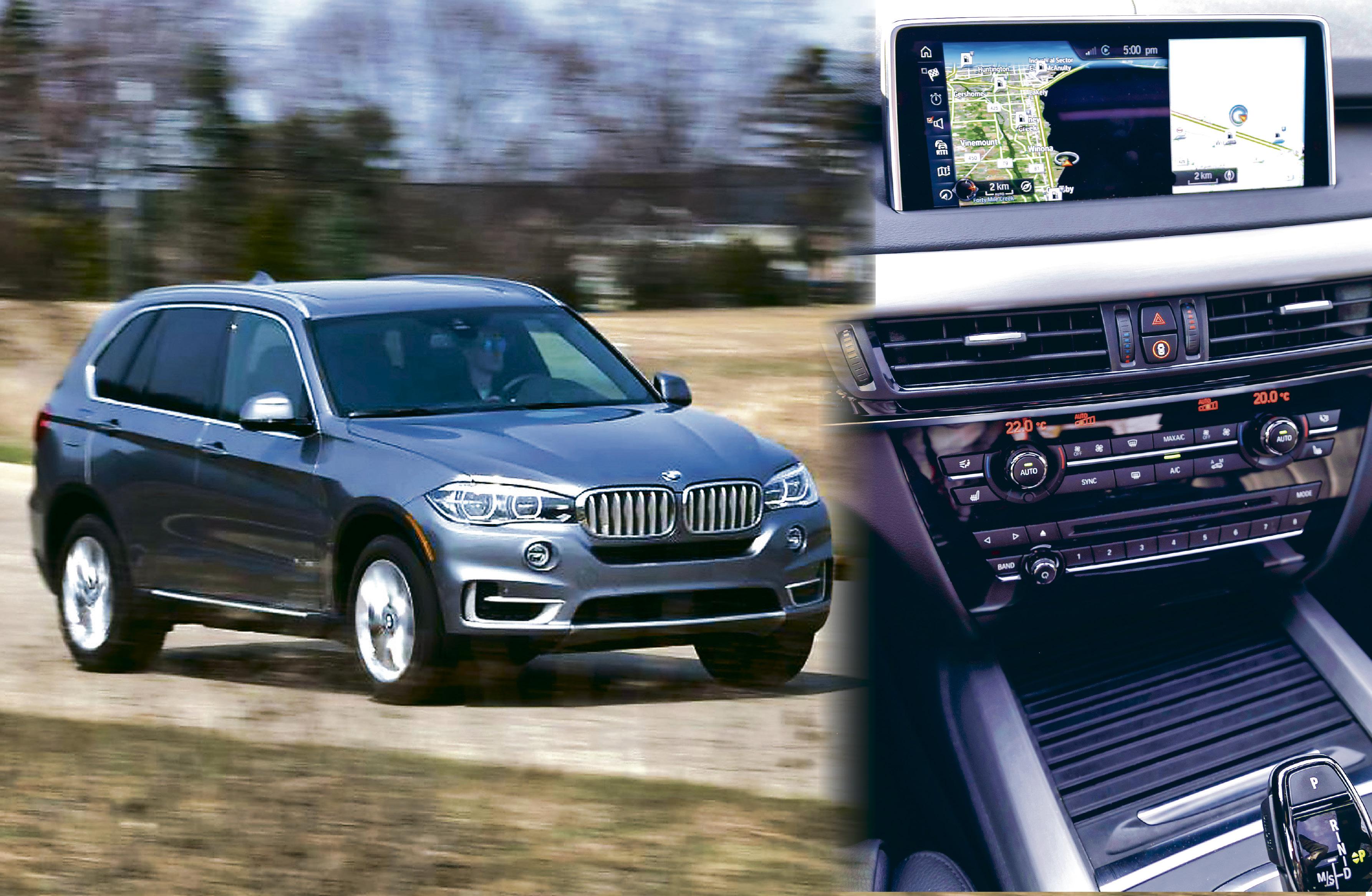 ■其中一个与讼人购买了一辆宝马X5 xDrive35i汽车(与图中汽车同款)。右为该款X5车厢内的GPS装置。网上图片