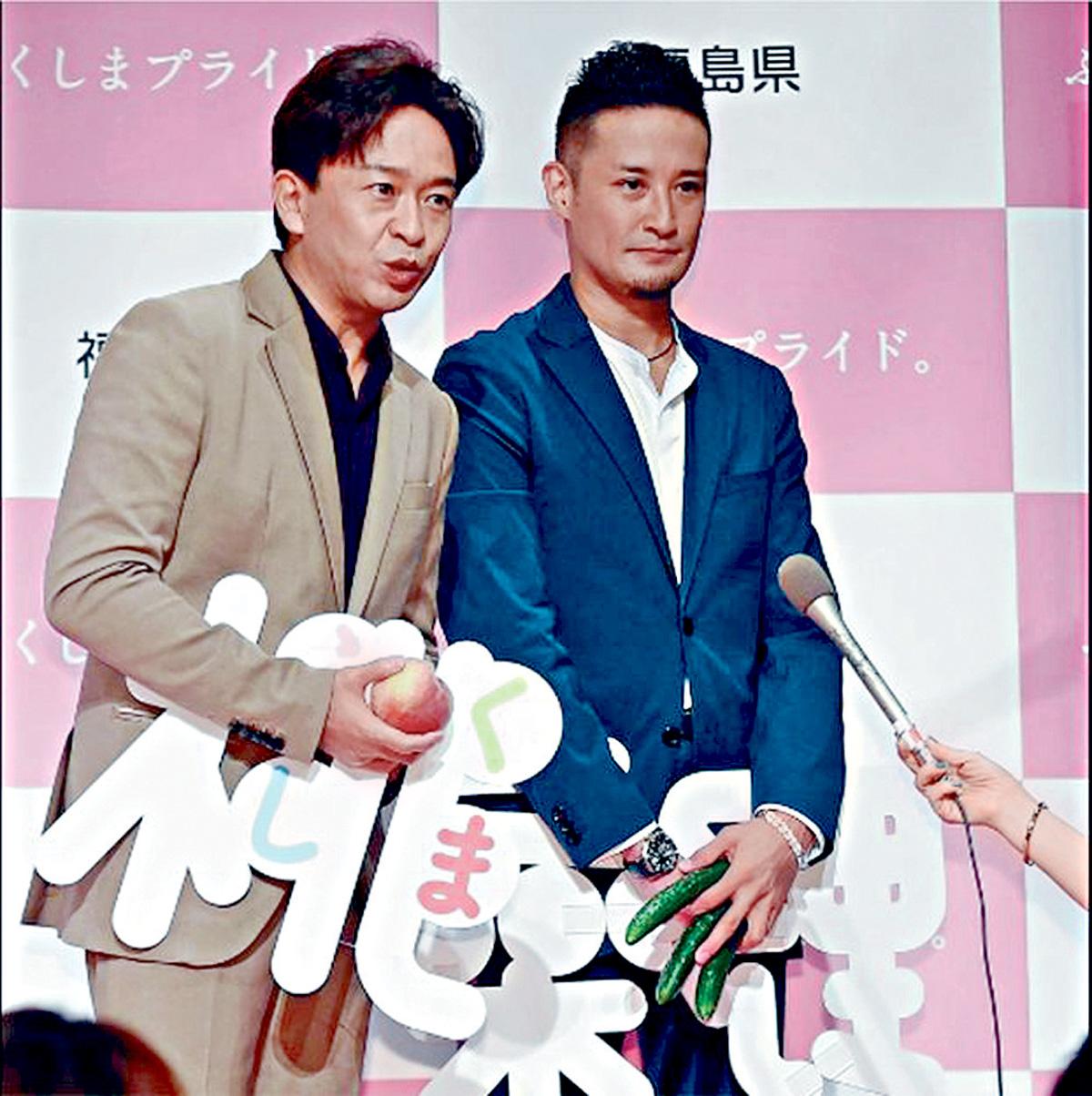 ■TOKIO城島茂(左)和松岡昌宏想告訴喜多川他們會努力。