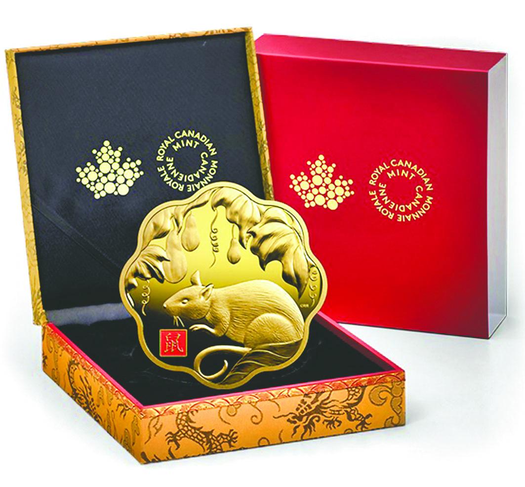 鼠年蓮花形系列一公斤純金幣。